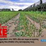 ΚΚΕ: Να αποζημιωθούν στο 100% εδώ και τώρα οι αγρότες για τις ζημιές που έπαθαν στις καλλιέργειες τους